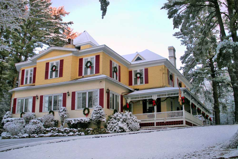 Lamplight inn during a recent snowfall