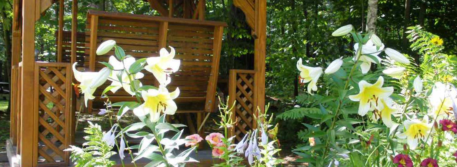 flowers and porch swings
